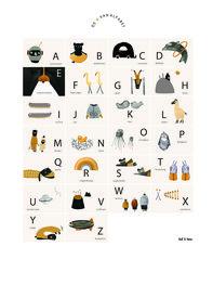 Ted & Tone  A is voor Alfabet Poster