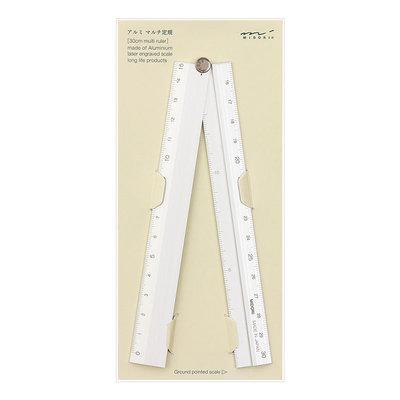 Midori Multiple ruler 30cm Liniaal Zilver