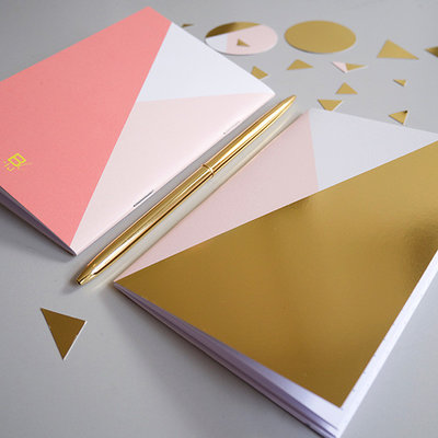 Bl-ij A6 Gold Notebook Pink