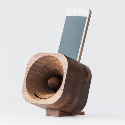 Trobla houten akoestische versterker luidspreker voor smartphone walnoot