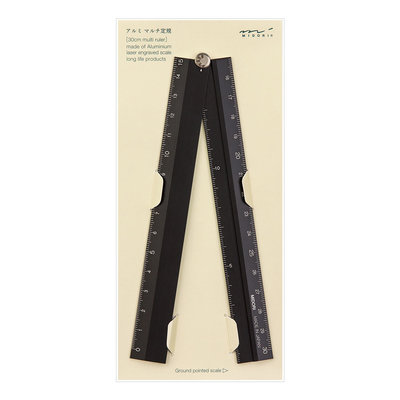 Midori Multiple ruler 30cm Liniaal Zwart