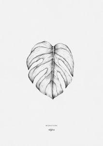 Inkylines A5 Print Monstera leaf